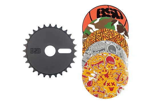Bild 1 - BSD STICKER BOMB Kettenblatt black 28t bolt drive incl. 5 stickers