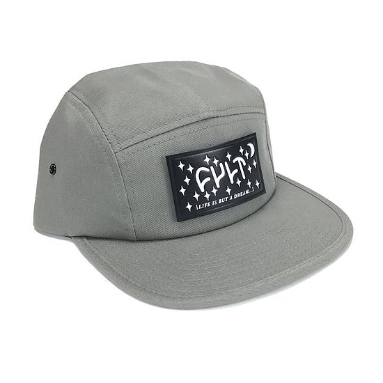 Bild 1 - Cult DREAM LEATHER PATCH 5 Panel Camper Hat grey adjustable in size