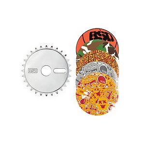 BSD STICKER BOMB Sprocket polished 28t bolt drive incl. 5 stickers