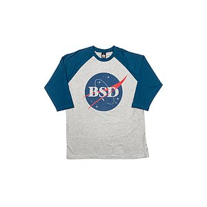 BSD SPACE AGENCY Baseball Shirt heather grau/navy XL